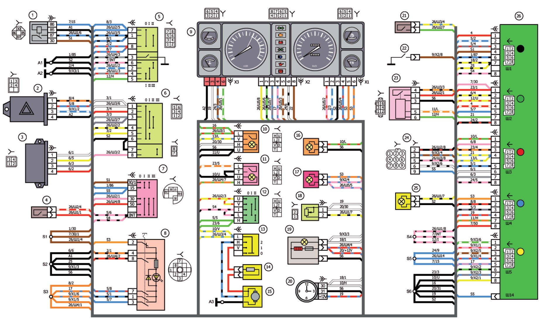 Электрическая схема щитка приборов ваз