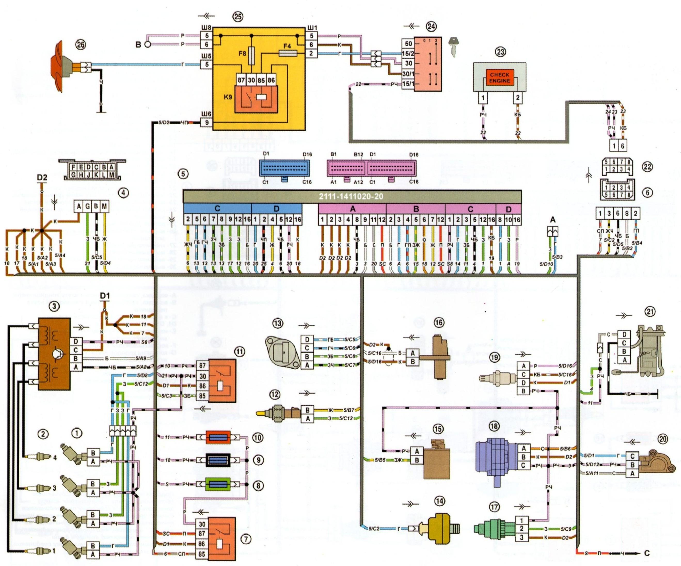 Провода зажигания 2109 схема